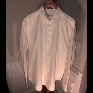 $100 Tommy Bahama White Striped Cotton Silk Blend